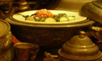 Simulated monkey brains displayed at Tao Heung Museum of Food Culture, Hong Kong, as part of a Manchu Han Imperial Feast